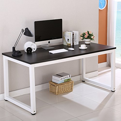 """Writing Table/Modern Computer Desk/Children Study Desk, Simple design, Steel Frame, Wood Color Top, For Studio, Home Office,Workstation and School 43.3""""Lx23.6""""Wx29.1""""H by Artist Hand"""