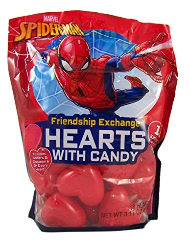 Spiderman Valentine's Day Classroom Friendship Exchange Hearts with Candy, 18 Count