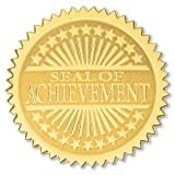 Seal of Achievement Embossed Starburst Gold Certificate Seals, 2 Inch, Self Adhesive, 102 Count