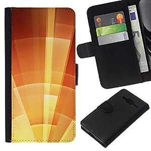 KLONGSHOP // Tirón de la caja Cartera de cuero con ranuras para tarjetas - parasol estrella naranja soleado de verano - Samsung Galaxy Core Prime //