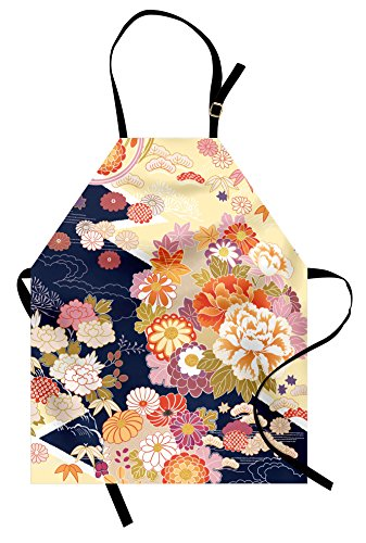 pron, Traditional Kimono Motifs Composition Asian Ethnic Floral Patterns Vintage Artwork, Unisex Kitchen Bib Apron with Adjustable Neck for Cooking Baking Gardening, Multicolor (Vintage Style Apron Patterns)