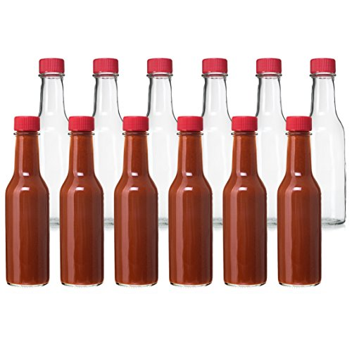 (24 Pack - 5 Oz Hot Sauce Bottles, Small Empty Glass Bottles with Red Caps and Drip Dispensing Tops for Salsa, Pepper, Vinegar, Hot Sauce, Pepper Sauce, By California Home Goods)