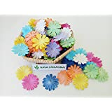 NAVA CHIANGMAI 100 pcs Daisy Mulberry Paper Flower Artificial Craft Scrapbook Wedding Supply Accessory DIY, Assorted Color, Mixed color , Size 1 inch