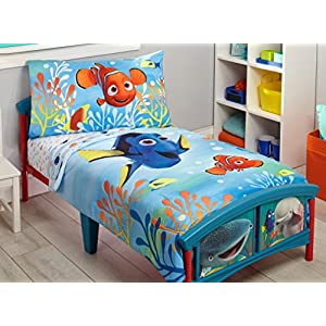 Disney Finding Dory 4 Piece Toddler Bedding Set, Blue/Orange/Yellow 4