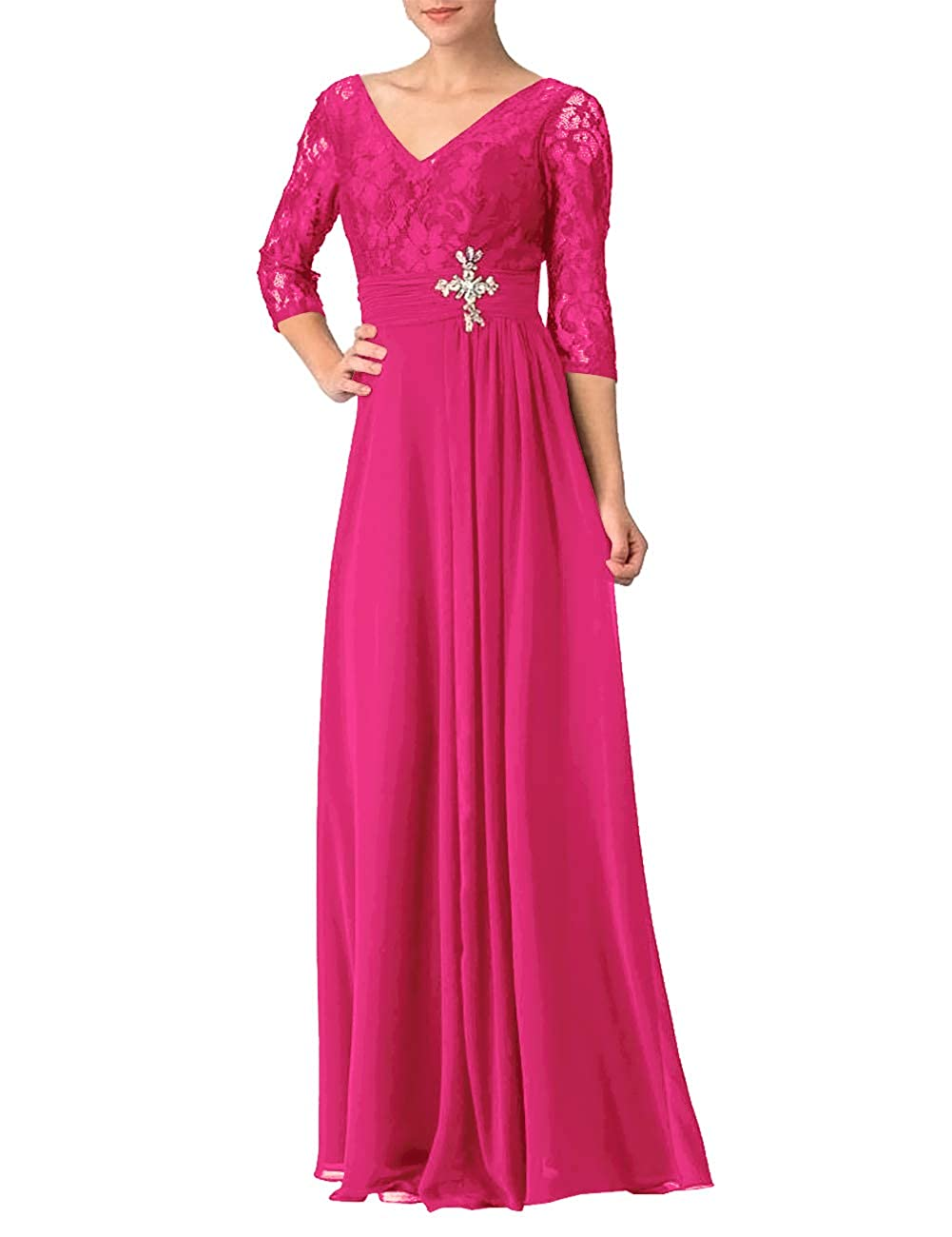 Hot Pink Evening Dresses V Neck Half Sleeve Lace Mother of The Bride Gowns