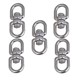 CNBTR M4 Eye to Eye Swivel 304 Stainless Steel Silver Tone Ring Set of 5