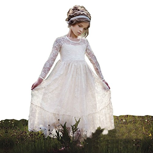 belababy Flower Girl Dress Ivory Lace Floor Length Size 6