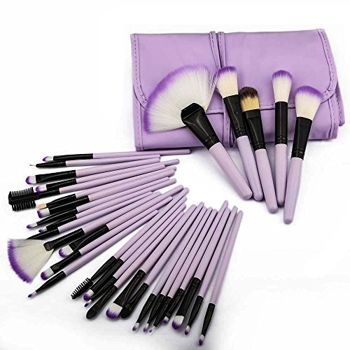 HeCloud 32-Piece Set Professional Cosmetic Blending Makeup Brushes Set with Bag (Purple)