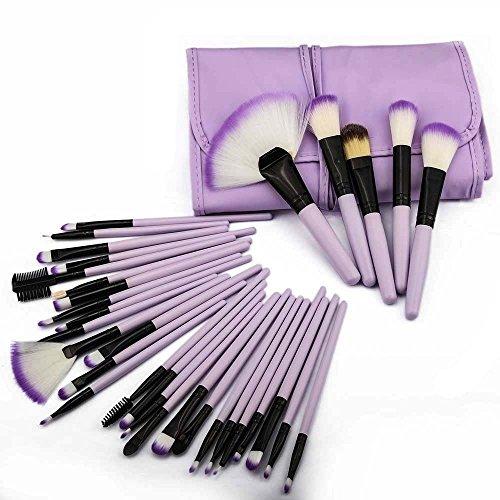 HeCloud 32-Piece Set Professional Cosmetic Blending Makeup Brushes Set with Bag (Purple) (Piece Set Makeup Beauty 32)