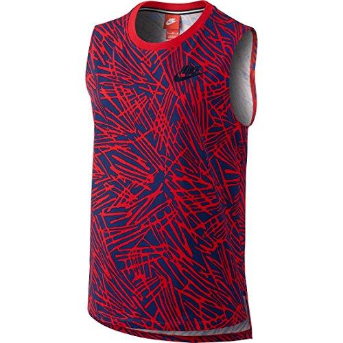 (NIKE Women's Muscle Sport Casual Tank Top-University Red/Obsidian-Medium)