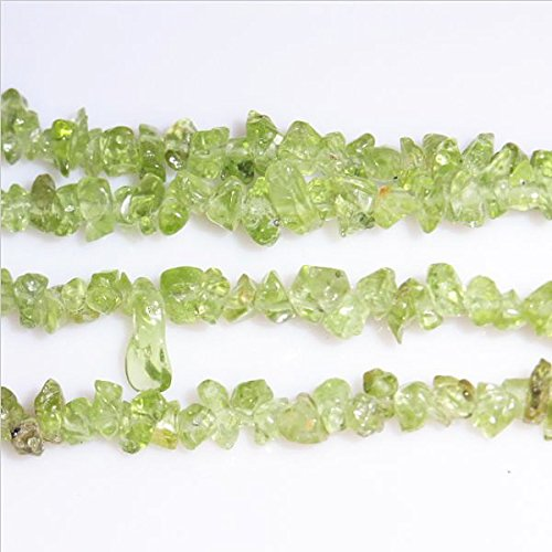 TheTasteJewelry 3 Strands Natural Peridot AB Grade Chips 5-8mm 34'' Jewelry Making Necklace Bracelet