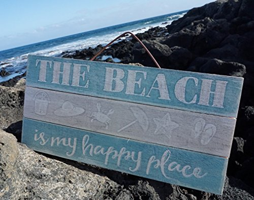 The Beach Is My Happy Place Starfish Crab Blue Wood Plank Home Decor -