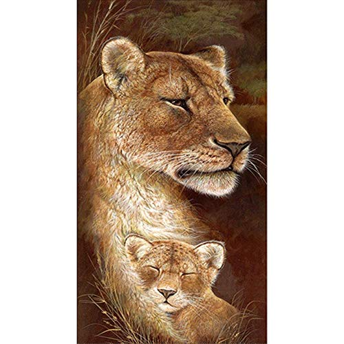 certainPL 5D Diamond Painting Kits, Full Drill DIY Crystal Rhinestone Diamond Embroidery Paintings Pictures, Household Arts Craft for Adults Deer Tiger Lion (B)