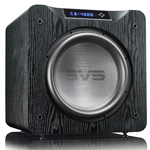 SVS SB-4000 Subwoofer (Black Ash) - 13.5-inch Driver, 1,200-Watts RMS, Sealed Cabinet, App Control