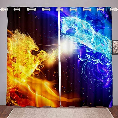 Feelyou Galloping Horse Printed Curtains Ice and Fire Horse Windows Drapes Yin Yang Theme Window Curtains