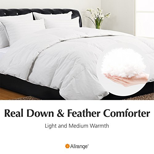 Allrange Hypoallergenic Feather and Down Comforter Duvet, Down Proof Cotton Fabric, Medium Warmth, Year Round, Machine Washable, Easy Care, Durable,F/Q Size