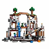LEGO Minecraft The Mine Ride on The Awesome Minecart Track With Explosion Function, Diamond, Redstone and Coal Elements, Torches and 2 Trees