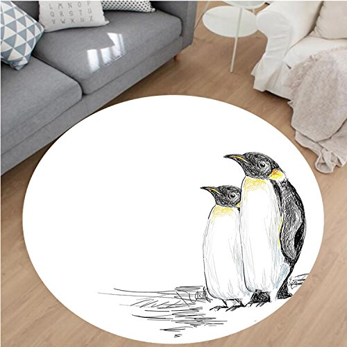 Nalahome Modern Flannel Microfiber Non-Slip Machine Washable Round Area Rug-d Drawn Style Art Penguins Aquatic Flightless Birds Polar South Pole Wildlife Black White area rugs Home Decor-Round 71