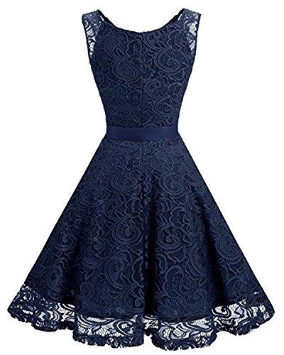Fiesta Noche Mujer Falda de Kidsform Vestido S Boda Elegante Encaje azul Mangas marino de Casual Sin Vestidos para Cóctel wOPqFqAWx