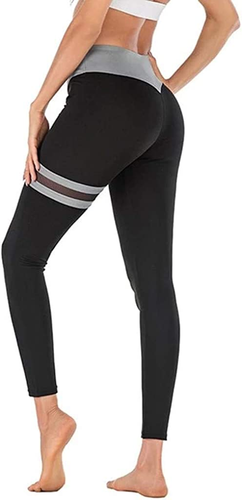 Womens Yoga Pants BOIYI Striped Patchwork Tummy Control High Waist Gym Leggings Non See Through Sportpants Workout Running Pants