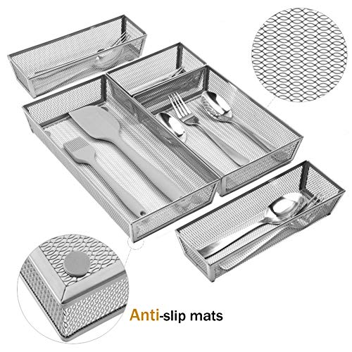 Expandable Kitchen Drawer Organizer, 5 Separate Compartment with Anti-slip Mats Mesh Kitchen Cutlery Trays Silverware Storage Kitchen Utensil Flatware Tray by Furniture Life (Image #2)