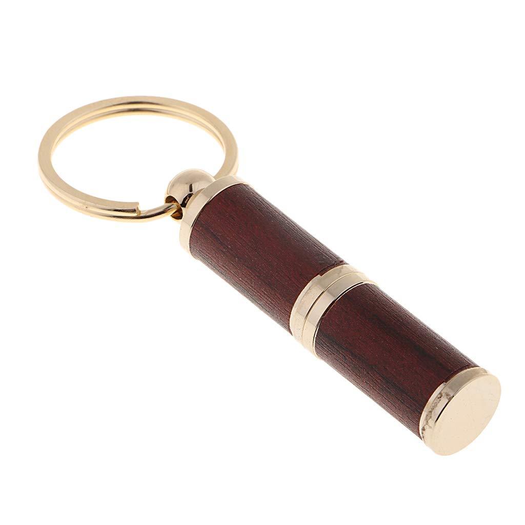 Prettyia Cigar Punch Keychain Twist Cut - Punch Cutter Key Ring Men Gift - Polish Gold/Burgundy by Prettyia