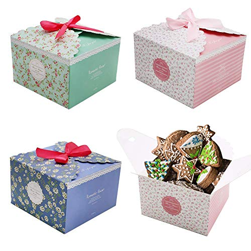 pcs Cake Boxes Party Favor Treats Boxes Cookies Goodies Bakery Cupcake Boxes for Party Birthday Wedding Baby Shower Holiday Celebration ()