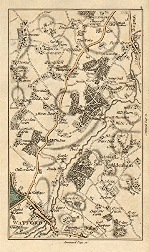 WATFORD Aldenham Bricket Wood Chiswell Green Bushey Abbots Langley CARY - 1786 - old map - antique map - vintage map - printed maps of Hertfordshire