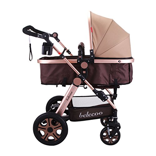 VEVOR Luxury Newborn Stroller Baby Foldable Anti-Shock Pushchair Pram High View Carriage Infant Stroller for Travel Systems Carriage Toddler (Golden)