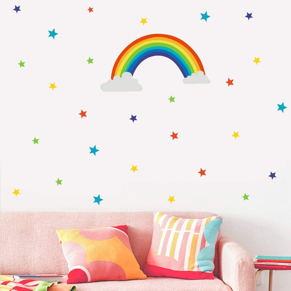 Rainbow And Stars Wall Decals Peel And Stick Removable Wall Stickers For Kids Nursery Bedroom Living Room Wall Décor Kitchen Dining