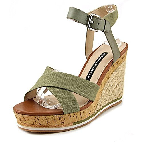 French Connection Lata Mujer Us 8.5 Green Wedge Sandal Eu 39.5