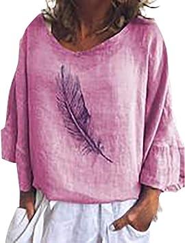 ღLILICATღ Camisetas Mujer Verano, Camisa de la Blusa de Tiras Sexy Camiseta de Manga Largo Manga de la Llamarada con Estampado de Plumas Camisas Tops de Fiesta Casual para Mujer: Amazon.es: Belleza