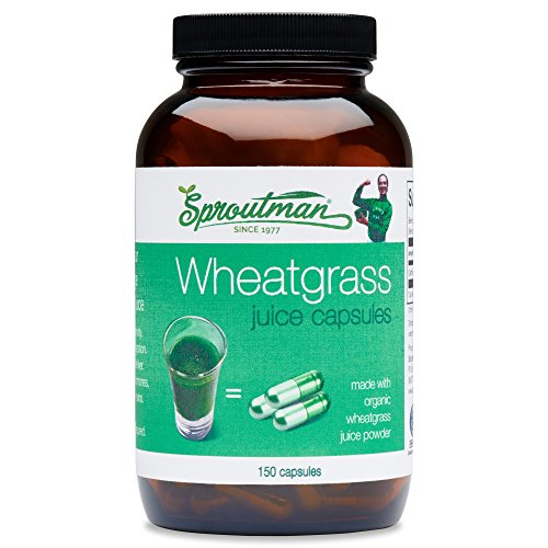 (Organic Wheatgrass Juice Powder Capsules by Sproutman - 100% Pure Wheatgrass- Boosts Metabolism, Aids Digestion - High in Vitamins, Antioxidants, Chlorophyll, Enzymes, Minerals & Energy (150 Pills))
