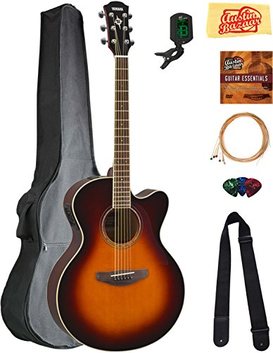 (Yamaha CPX600 Acoustic-Electric Guitar - Old Violin Sunburst Bundle with Gig Bag, Tuner, Strings, Strap, Picks, Austin Bazaar Instructional DVD, and Polishing Cloth)
