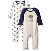 Touched by Nature Baby Organic Cotton Union Suit 2-Pack, Hedgehog, 0-3 Months