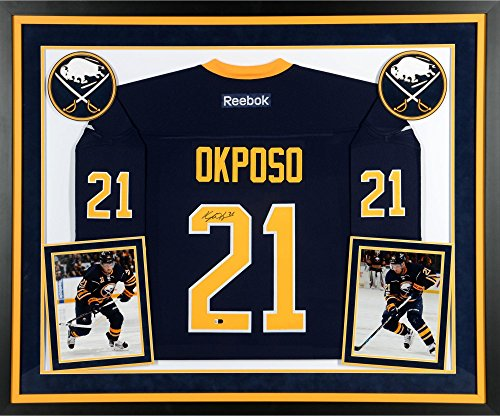 Navy Premier Buffalo (Kyle Okposo Buffalo Sabres Deluxe Framed Autographed Navy Reebok Premier Jersey - Fanatics Authentic Certified)