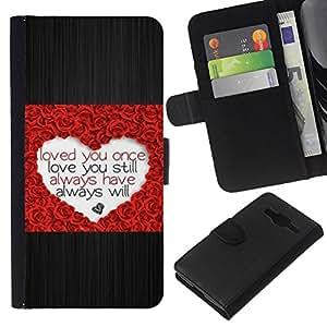 Planetar® Modelo colorido cuero carpeta tirón caso cubierta piel Holster Funda protección Para Samsung Galaxy Core Prime ( Corazón del amor Rose cepillado de San Valentín del metal )