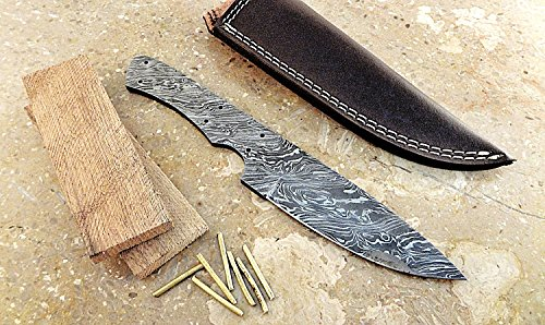 Damascus Knife Kit by ColdLand Custom Handmade Damascus Steel Full Tang Blank Blade with Brass Pins, Leather Sheath, Exotic Himalayan Wood Scales for Knife Making Supplies SK42