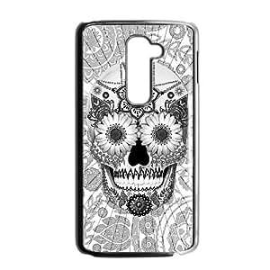 Diy Aztec Sugar Skull Phone Case for LG G2 Black Shell Phone JFLIFE(TM) [Pattern-4]