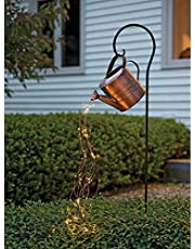 Watering Can Lights,Garden Art Light Decoration,Waterfall Fairy Lights for Watering Can, LED Waterfall Star Lights Garden Stake Lights for Patio Yard Lawn Pathway Decoration (with Stand)