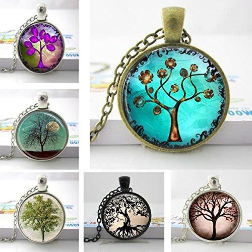 Pretty Lee Copper Tree Necklace Pendantcharmsartpicture Pendantwomen Tree Necklacesglass Dome ()