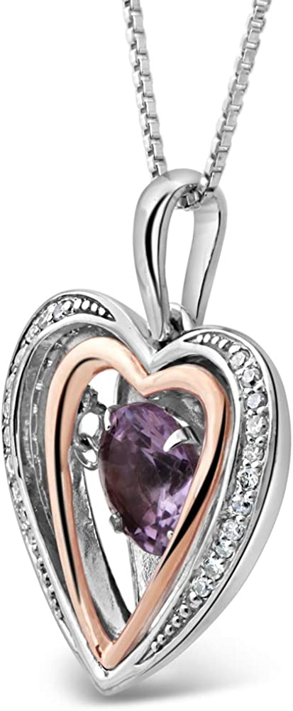 2c82e796aadaf Amazon.com: Amethyst Heart Necklace with Diamond Accent in Sterling ...
