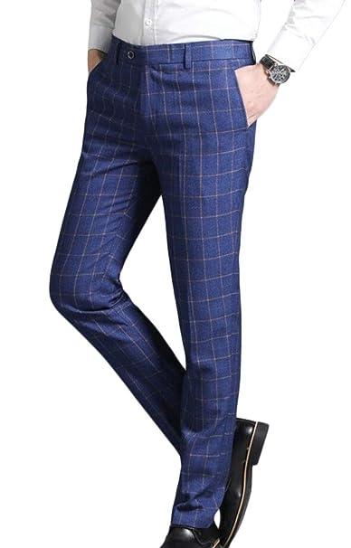 367c2bd789ef6 LEISHOP Men's Plaid Slim Fit Stretchy Dress Pants Flat Front ...