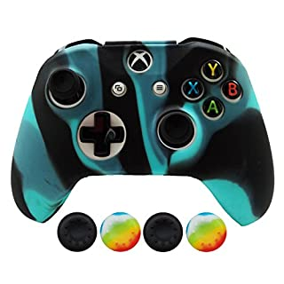 Hikfly Silicone Controller Cover Skin Protector Case Faceplates Kits for Xbox One X/One S/Slim Controller with 4pcs Thumb Grips Caps(Blueblack)