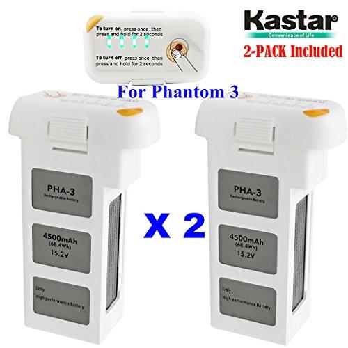 Kastar Intelligent Flight Battery Phantom 3 (2-Pack) High Capacity 4,500 mAh 15.2 V (4 cells in serial, 4S)- 24 Minute Flying Time - For the Phantom 3 Professional and Phantom 3 Advance (Cell Flight)