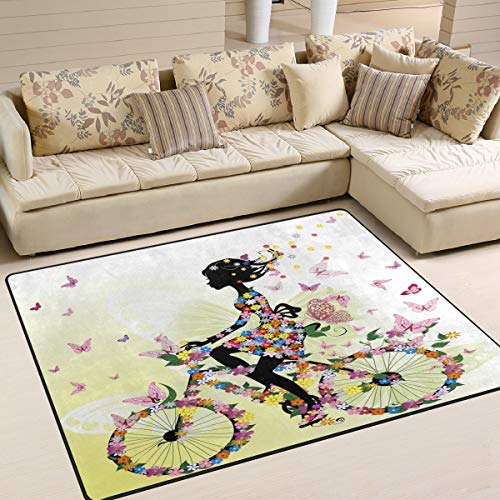 Large Area Rugs Romantic Girl on Bicycle Butterfly Flower Modern Area Rugs for Living Room Bedroom Home Decor 5'3 x 4',Floor Entrance Mats Runner Area Rug for Kids Room Carpet Rugs