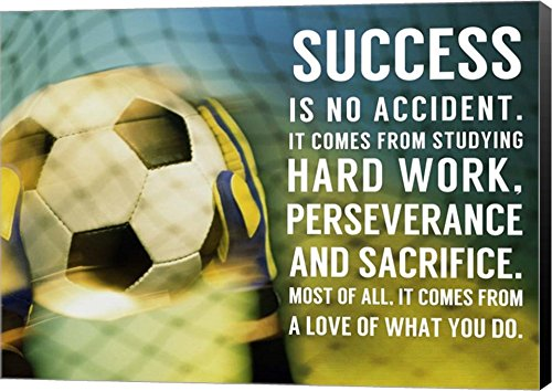 Success Soccer Quote by Sports Mania Canvas Art Wall Picture, Museum Wrapped with Black Sides, 28 x 20 inches by Great Art Now