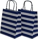 Medium Kraft Gift Bag, Color Stripe Design with matching handles, 2 packs bulk set of 24 bags (Blue & White, Medium 8'' x 10'' x 4'')