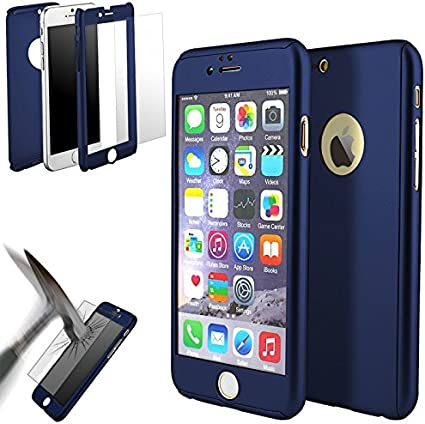 Coque 360° full protection iphone 5 / 5s bleu fonce: Amazon.fr ...