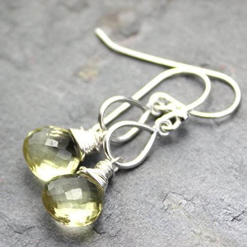 (Gemstone Lemon Quartz Earrings Teardrop Sterling Silver Briolettes)